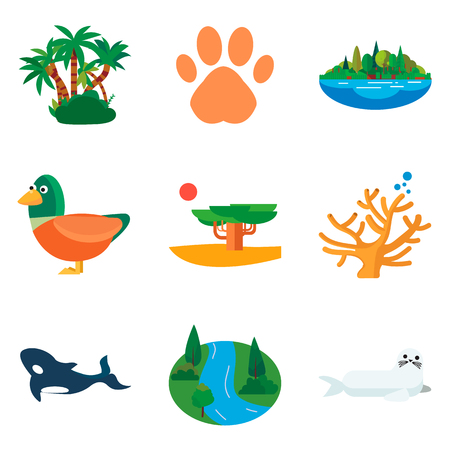 Set of color nature flat icons for web and mobile design
