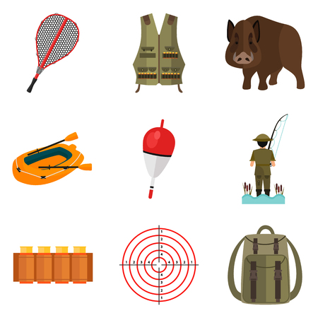 vest in isolated: Set of color flat hunting and fishing icons set for web and mobile design Illustration