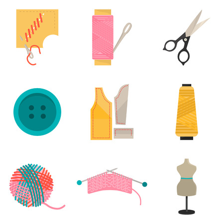 seamstress: Set of sawing color flat icons for web and mobile design
