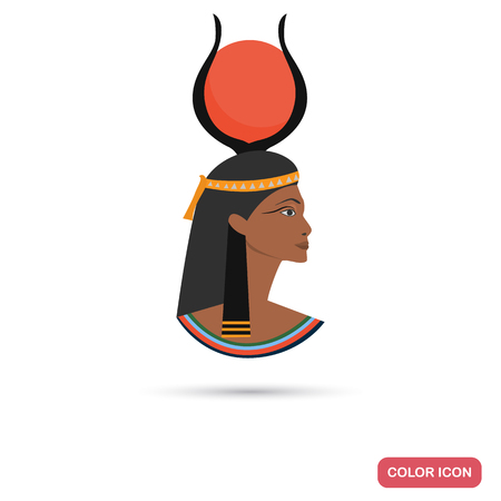 Hathor goddess color flat icon for web and mobile design