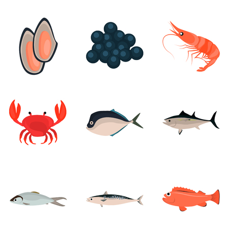 Set of sea food icons for web and mobile design