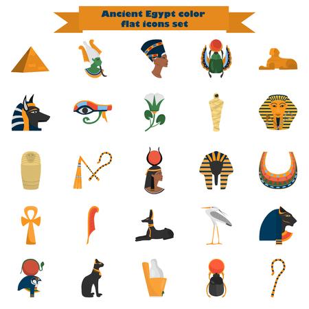 ojo de horus: Conjunto de iconos de color antiguo Egipto plana para web y diseño móvil