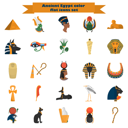 Set of ancient Egypt color flat icons for web and mobile design Illustration