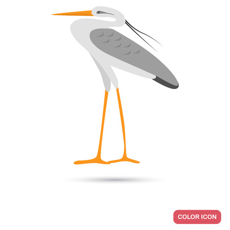 Heron color flat icon for web and mobile design Illustration