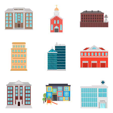 Set of city eleements color flat icons for web and mobile design Çizim