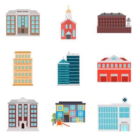 Set van stad eleements kleur platte pictogrammen voor web en mobiel ontwerp