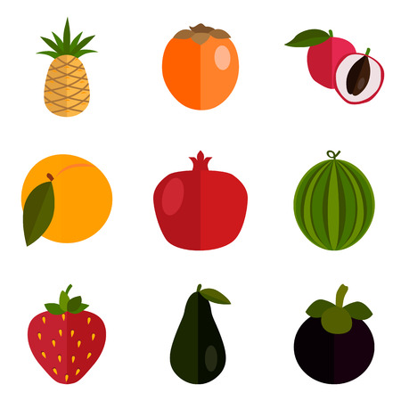 Set di icone di frutta a colori impostato per il web e il design mobile Archivio Fotografico - 80332440