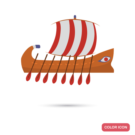 Ancient Greece ship color flat icon for web and mobile design