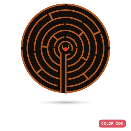 Labyrinth of the Minotaur color flat icon for web and mobile design