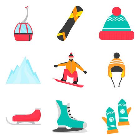 겨울철 휴식 및 스포츠 컬러 평면 아이콘이 웹 및 모바일 디자인을 위해 설정 됨