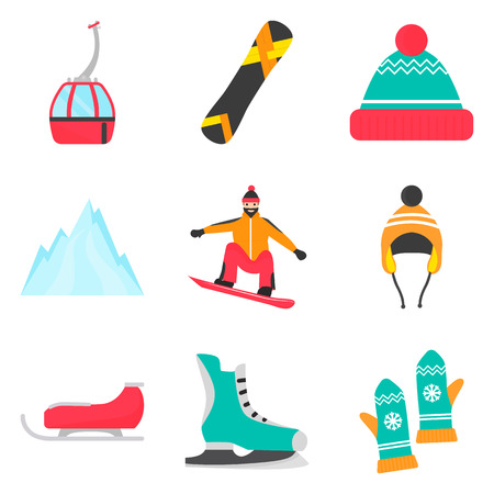 Winter rest and sports color flat icons set for web and mobile design Vettoriali