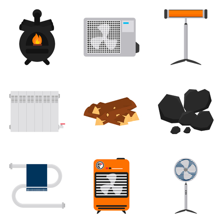 Heating color flat icons set for web and mobile design