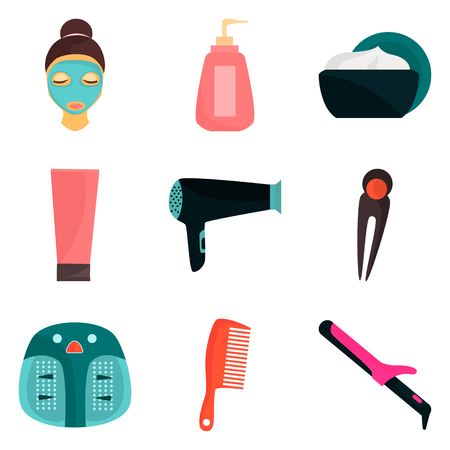Woman beauty care color icons set for web and mobile design