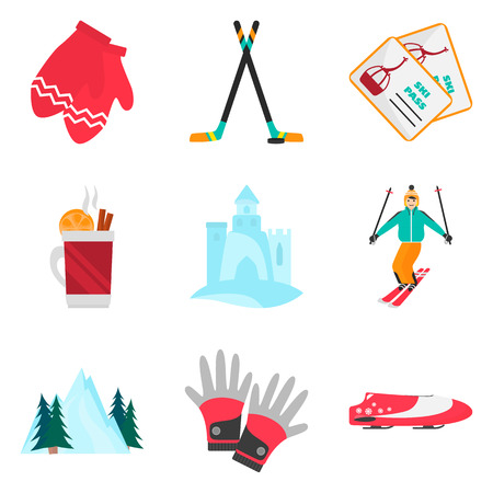 Winter rest and sports color flat icons set for web and mobile design Çizim