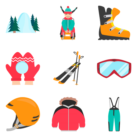Winter rest and sports color flat icons set for web and mobile design Illustration