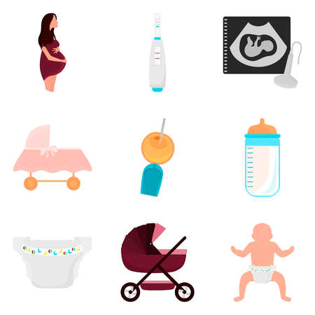 Pregnancy and baby care color flat icons set for web and mobile design