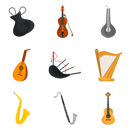 arpa: Music instruments color icons set for web and mobile design