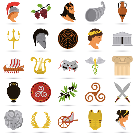 Ancient Greece color flat icons set for web and mobile design Ilustrace