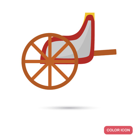 Ancient Greece chariot color flat icon for web and mobile design