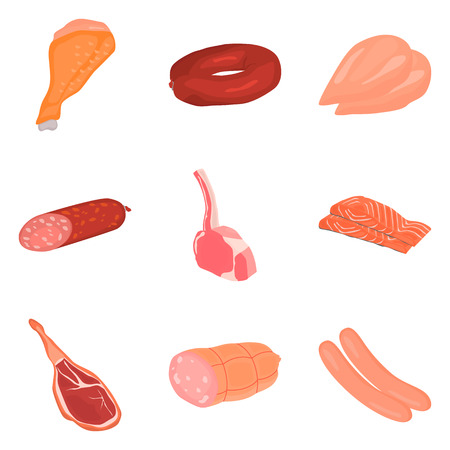 salmon fillet: Set of color flat meat products icons set for web and mobile design Illustration