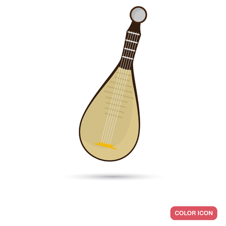 Chinese music instrument color flat icon for web and mobile design