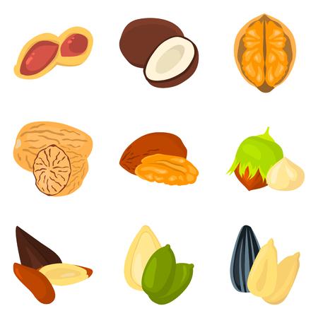 pumpkin seeds: Set of color flat nuts icons set for web and mobile design