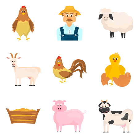 Set of color flat agriculture icons set for web and mobile design