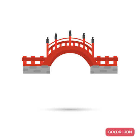 Chinese bridge color flat icon for web and mobile design