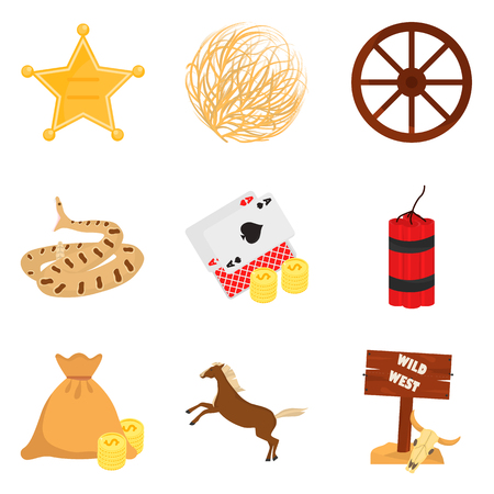 Set of color flat wild west icons set for web and mobile design