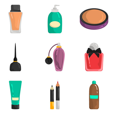 Set of color flat cosmetics icons set for web and mobile design