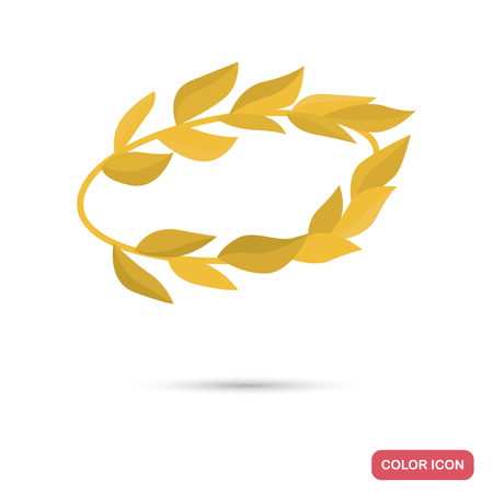 Golden laurel wreath color flat icon for web and mobile design