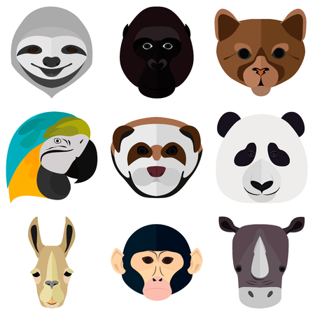 Set of animals muzzle color flat icons for web and mobile design