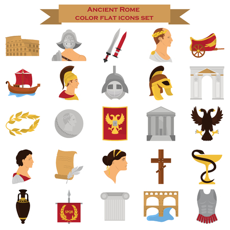 Ancient rome color icons srt for web and mobile design