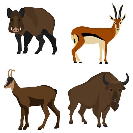 Ensemble d'icônes plat de couleur des animaux à sabots pour le web et le design mobile