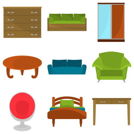 chest of drawers: Set of color flat furniture icons for web and mobile design