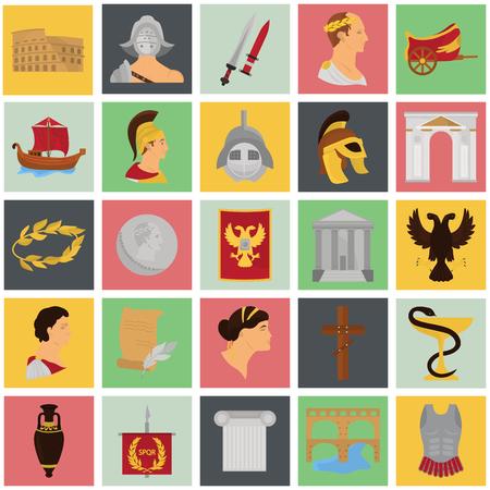Anciennes icônes de couleurs rome srt pour le design web et mobile Vecteurs