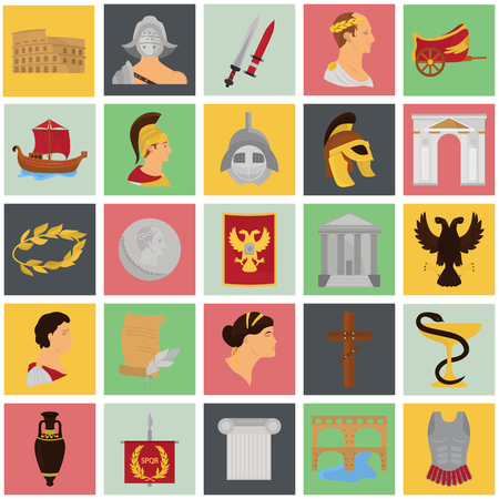 Ancient rome color icons srt for web and mobile design Stock Vector - 81692274