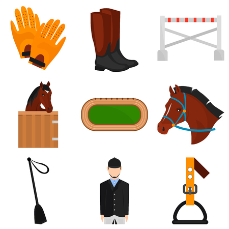 stirrup: Set of horse rcing color flat icons for web and mobile design