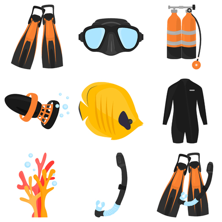 Set of diving color flat icons for web and mobile design Illustration