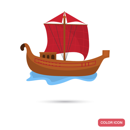 Rome merchant ship color flat icon for web and mobile design Çizim