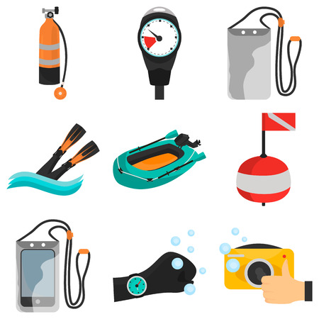 Set of diving color flat icons for web and mobile design Stock Illustratie