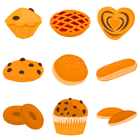 Set of bakery color flat icons for web and mobile design