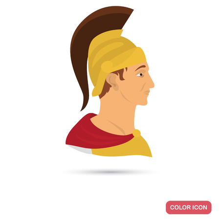 Ancient Rome warrior color flat icon for web and mobile design