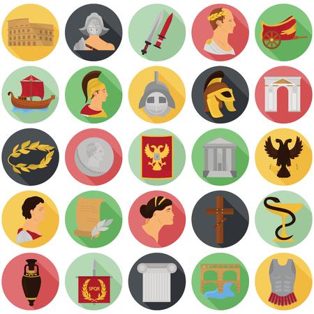 Oude Rome kleuren iconen srt voor web en mobiel ontwerp Stock Illustratie