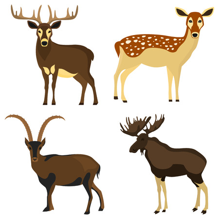Set of hoofed animals color flat icons for web and mobile design Иллюстрация