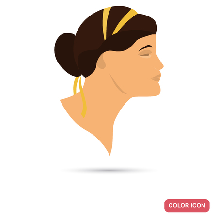 hairdo: Romance women color flat icon for web and mobile design
