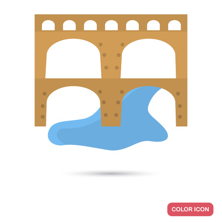 Ancient Rome aqueduct color flat icon for web and mobile design