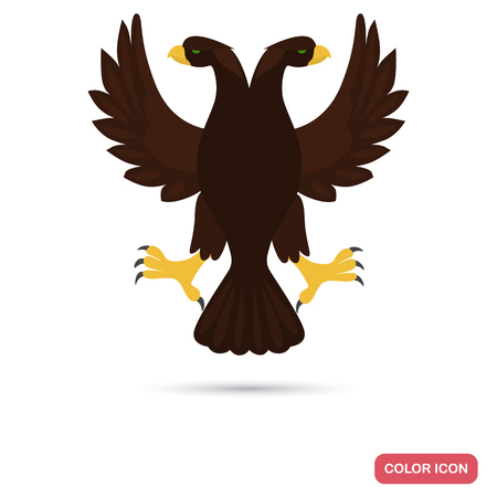 Ancient Rome double eagle color flat icon for web and mobile design Çizim