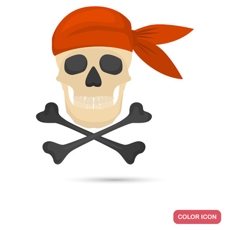 Pirate skull and crossed bones color flat icon for web and mobile design