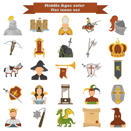 dark ages: Set of middle age color flat icons for web and mobile design